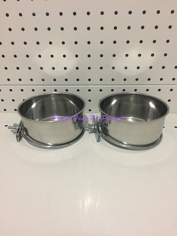 ~BIRD/PET BOWLS / STAINLESS STEEL / COOP CUPS / x2 / BOLT ON / 12.8CM DIA~