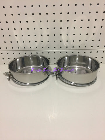 ~BIRD/PET BOWLS / STAINLESS STEEL / COOP CUPS / x2 / BOLT ON / 15CM DIA~