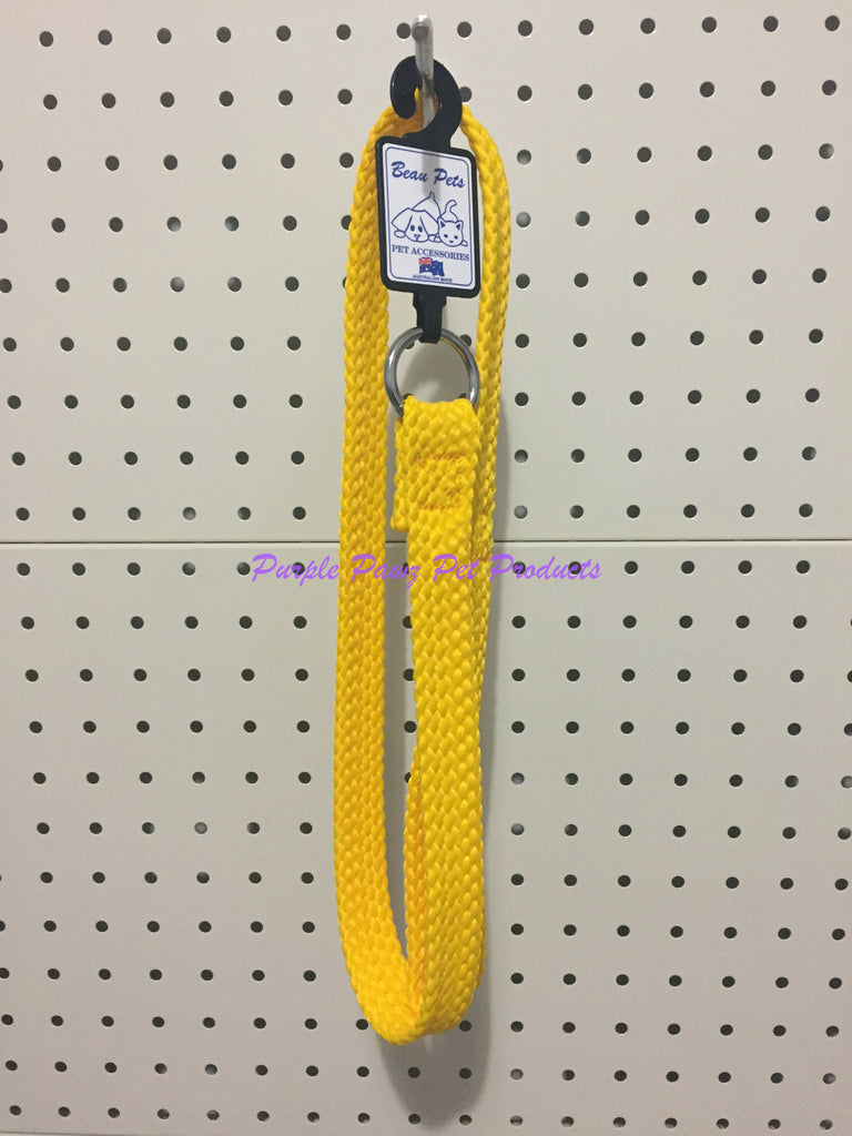 ~BEAU PETS / DOG LEAD / NYLON / SLIP / GOLD / 20MM x 90CM~
