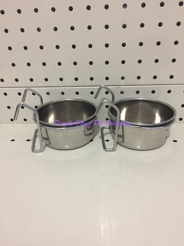 ~BIRD/PET BOWLS / STAINLESS STEEL / COOP CUPS / x2 / HOOK ON / 9.5CM DIA~