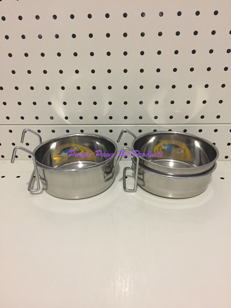 ~BIRD/PET BOWLS / STAINLESS STEEL / COOP CUPS / x2 / HOOK ON / 12.5CM DIA~