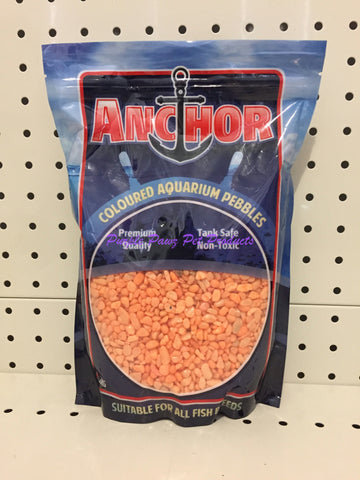 ~ANCHOR / COLOURED AQUARIUM PEBBLES / GRAVEL / 2KG / ORANGE~