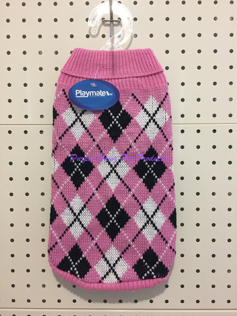 ~PLAYMATE / DOG JUMPERS / PINK ARGYLE / 2 SIZES LEFT!~