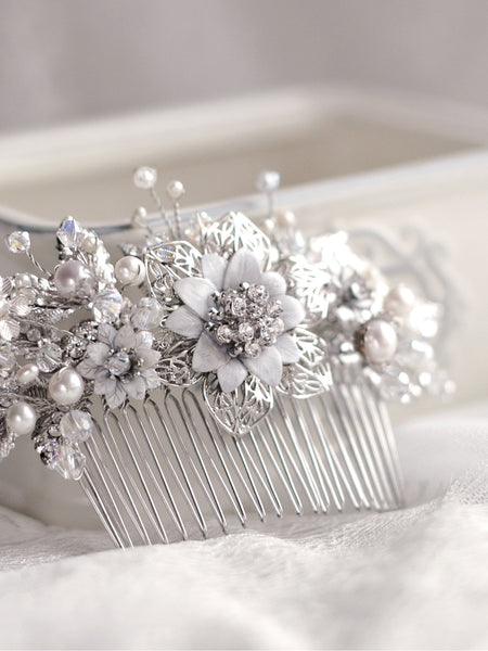 Bespoke Design : Sparkling Silver Haircomb with Pearls