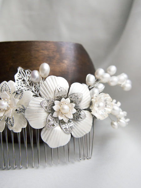 Bespoke Design - A floral headpiece with pearlised finish for Dorothy