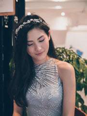 Hong Kong Wedding Headpiece | CLEMENTINE - Crystals & Pearls Adorned Floral Headband *Currently Not Avaiable* | Hong Kong Handmade Wedding Accessories, Bridal Headpiece and Earrings | Down The Aisle Atelier