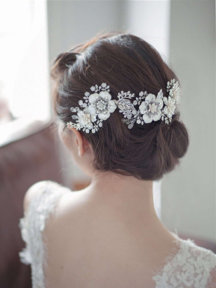 Hong Kong Wedding Headpiece | LYNETTE - Delicate Flowers Hair Comb Embellished with Crystals | Hong Kong Handmade Wedding Accessories, Bridal Headpiece and Earrings | Down The Aisle Atelier