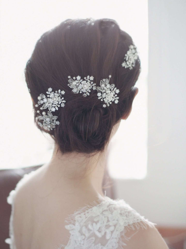 Hong Kong Wedding Hairpins | OLIVIA - Whimsical Flowery Hairpins | Hong Kong Handmade Wedding Accessories, Bridal Headpiece and Earrings | Down The Aisle Atelier