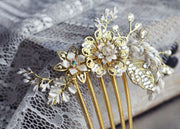 Hong Kong Wedding Headpiece | AUDREEN - Enchanting Gold Floral & Twigs Hair Comb | Hong Kong Handmade Wedding Accessories, Bridal Headpiece and Earrings | Down The Aisle Atelier