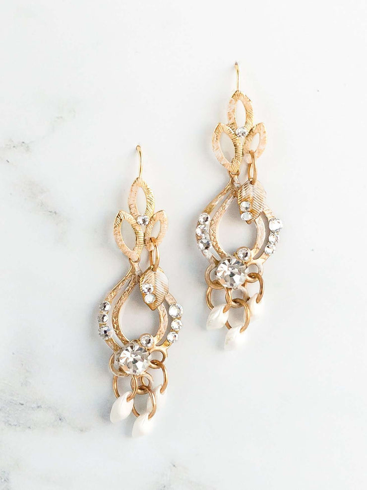 Hong Kong Wedding Earrings | SHERIN - Art Deco Inspired Earrings | Hong Kong Handmade Wedding Accessories, Bridal Headpiece and Earrings | Down The Aisle Atelier