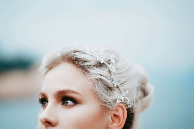 Hong Kong Wedding Headpiece | *NEW EMBERLY - Delicate Sparkly Wedding Headpiece | Hong Kong Handmade Wedding Accessories, Bridal Headpiece and Earrings | Down The Aisle Atelier