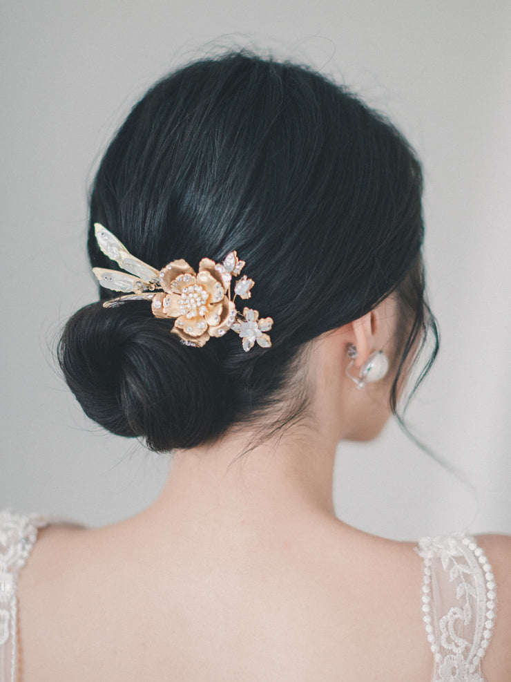 CALANDRA - Gold Floral Headpiece