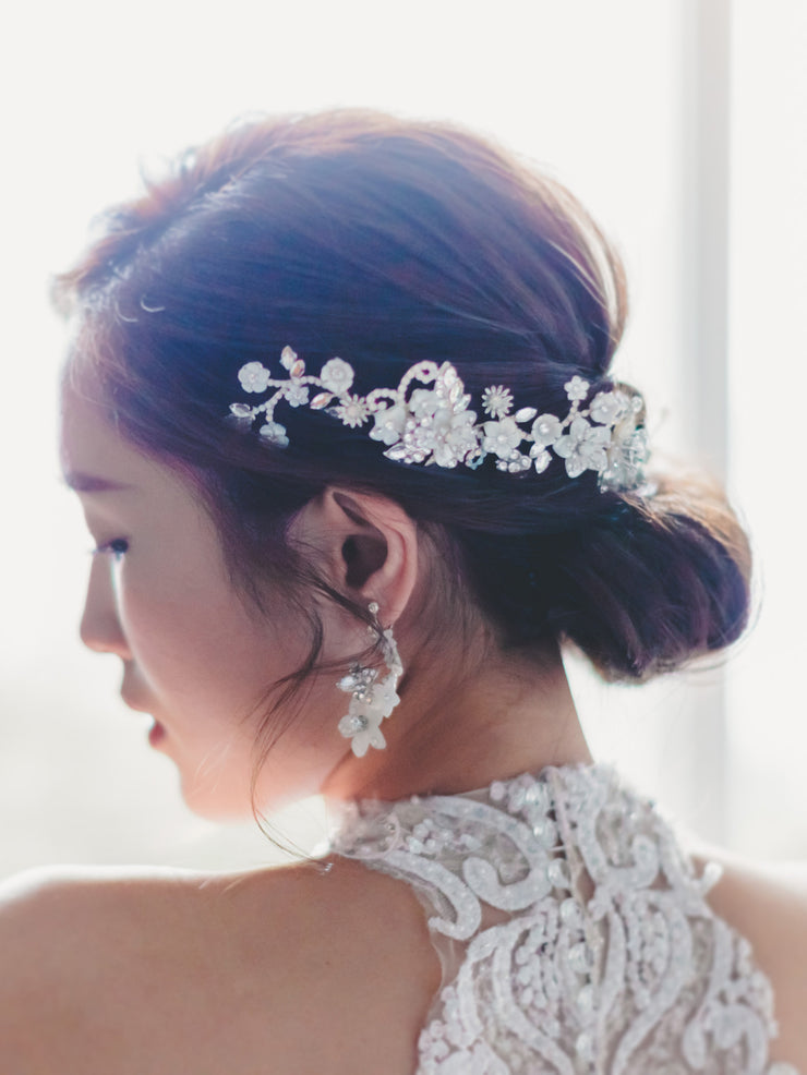 NOELLE -  Mother of Pearl Crystals Headpiece