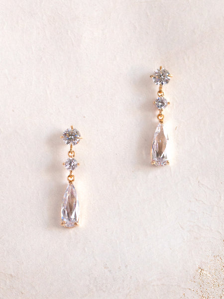 KACIE - Minimal Sparkly Earrings with Teardrop Crystals **Limited Edition**