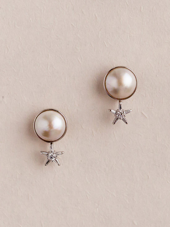 CHLOE - Japanese Round Mabe Pearl Earrings with Ear Jackets