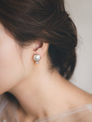 HANNAH - Japanese Round Mabe Pearl Earrings with Swarovski Crystal