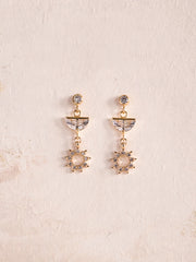 APOLLO - Gold Shining Sun Drop Earrings