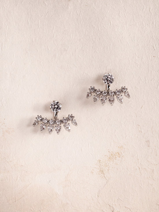 ASTERA - Sparkly Crystals Earrings with Ear Jackets