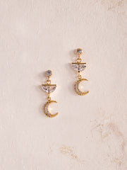 AYLA - Gold Crescent Moon Drop Earrings
