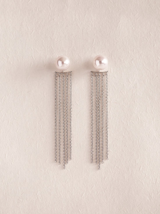 EVONNA - AAA Grade Japanese Akoya Pearl Earrings with SILVER Tassel **TWO SIZES