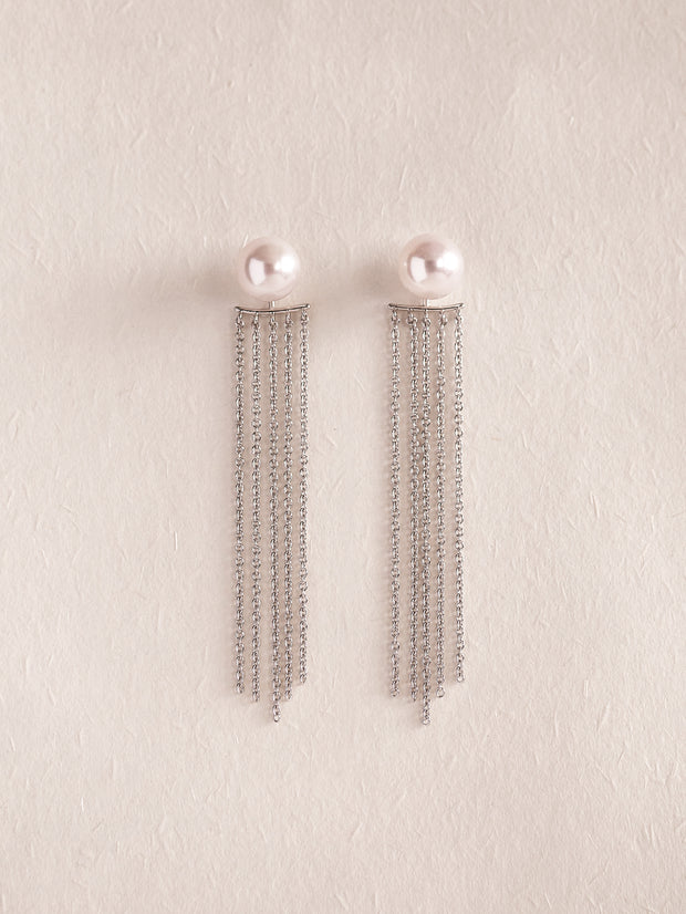EVONNA 2-Way Earrings with SILVER Tassel **THREE SIZES**