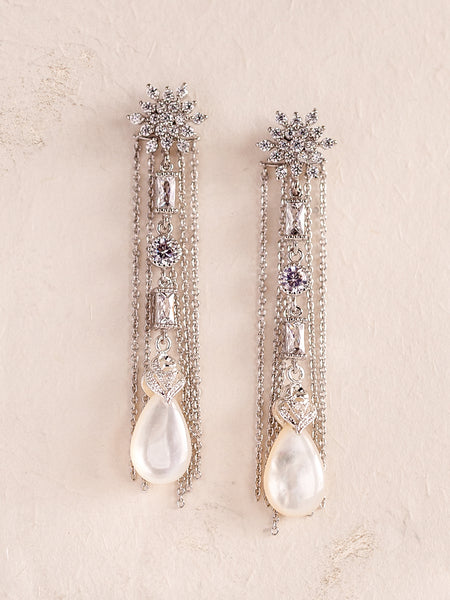 MADELINE - Snow Crystals Drop Earrings **Available in Gold and Silver Color**