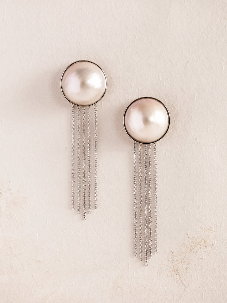SYLVIE - 18mm Japanese Mabe Pearl Earrings with Tassel