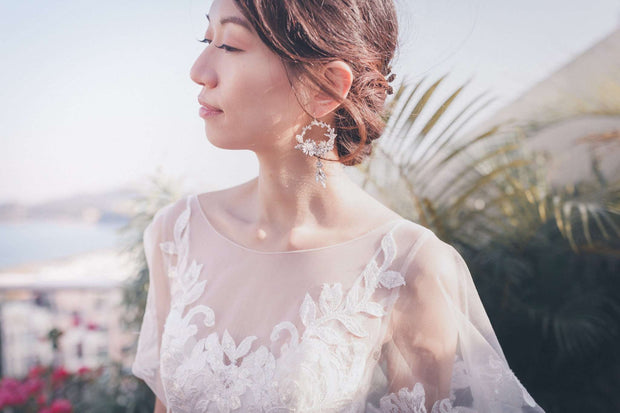 Hong Kong Wedding Earrings | ALLYSE - Shimmer Garden Flowers Earrings *Best Selling Earrings!* | Hong Kong Handmade Wedding Accessories, Bridal Headpiece and Earrings | Down The Aisle Atelier