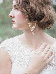Hong Kong Wedding Earrings | ADELINE - Enchanted Garden Flowers Earrings | Hong Kong Handmade Wedding Accessories, Bridal Headpiece and Earrings | Down The Aisle Atelier