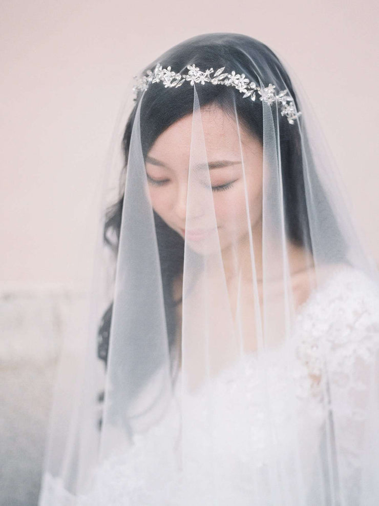 Hong Kong Wedding Headpiece | NICOLINE - Enchanted Silver Floral Headband | Hong Kong Handmade Wedding Accessories, Bridal Headpiece and Earrings | Down The Aisle Atelier