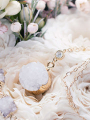 Hong Kong Wedding Necklace | RENEE - White Druzy Crystal Long Necklace | Hong Kong Handmade Wedding Accessories, Bridal Headpiece and Earrings | Down The Aisle Atelier