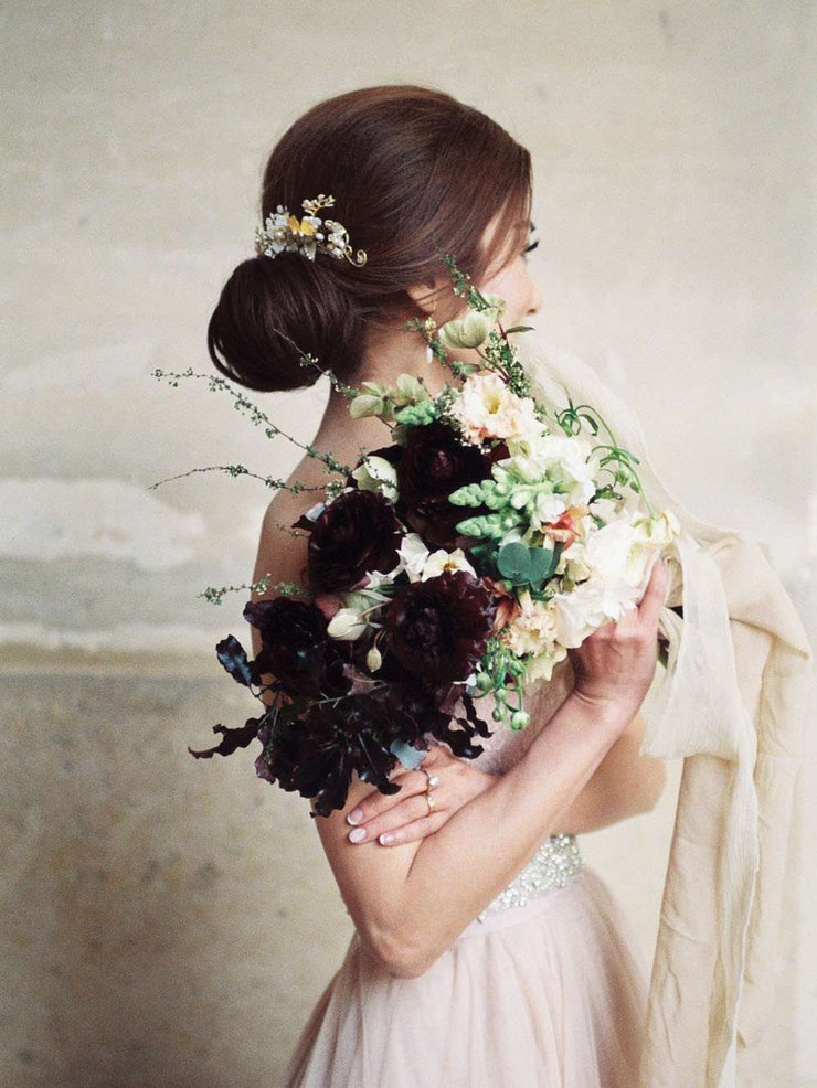 Hong Kong Wedding Headpiece | BIANCA - Enchanted Floral Garden Sparkling Headpiece *Featured on Bride and Breakfast HK* | Hong Kong Handmade Wedding Accessories, Bridal Headpiece and Earrings | Down The Aisle Atelier