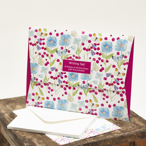 Writing Set - Meconopsis with Pink Flower design