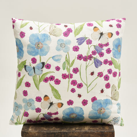 Cushion Cover - Meconopsis with Pink Flower design