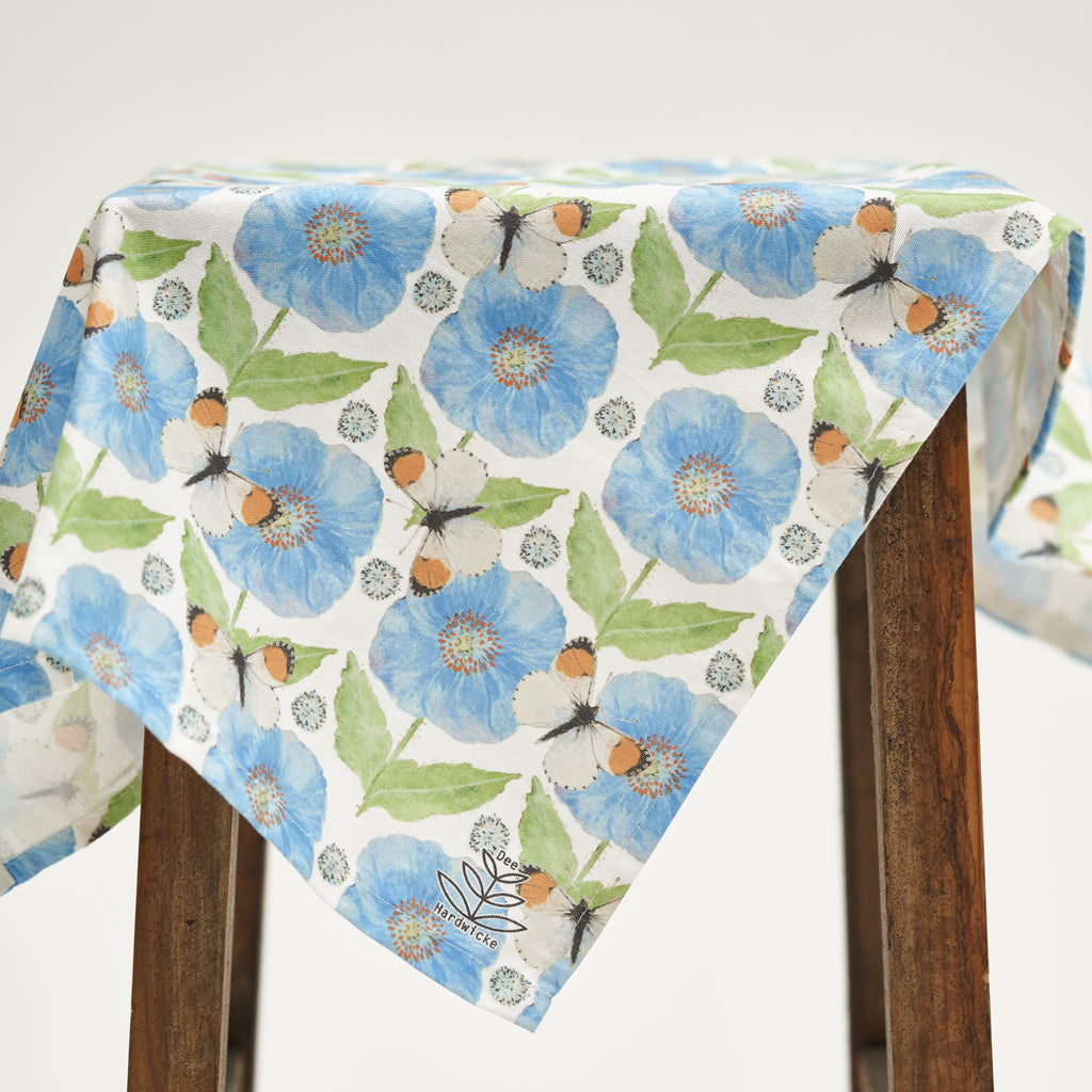 Tea Towel - Meconopsis with Butterfly design