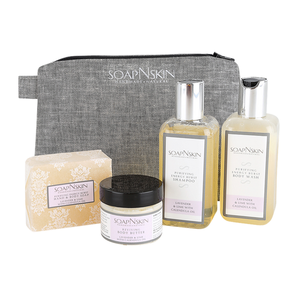 Lavender & Lime with Calendula Oil Wash Bag Gift Set