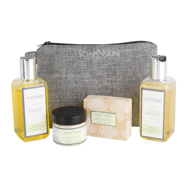 Neroli & Patchouli with Jojoba Oil Wash Bag Gift Set
