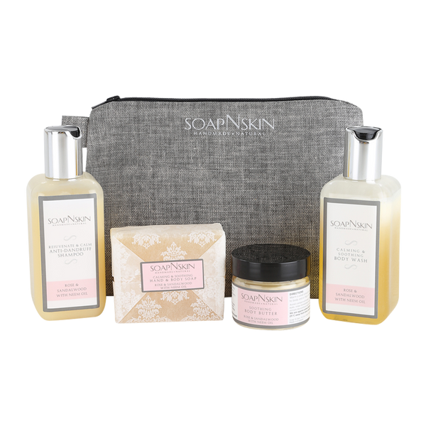 Rose & Sandalwood with Neem Oil Wash Bag Gift Set