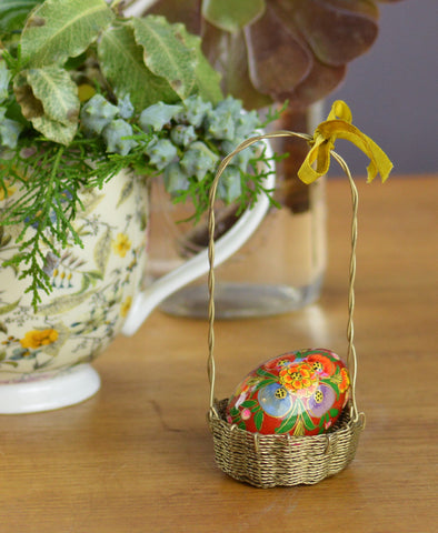Brass Wire Basket Ornament 13cm