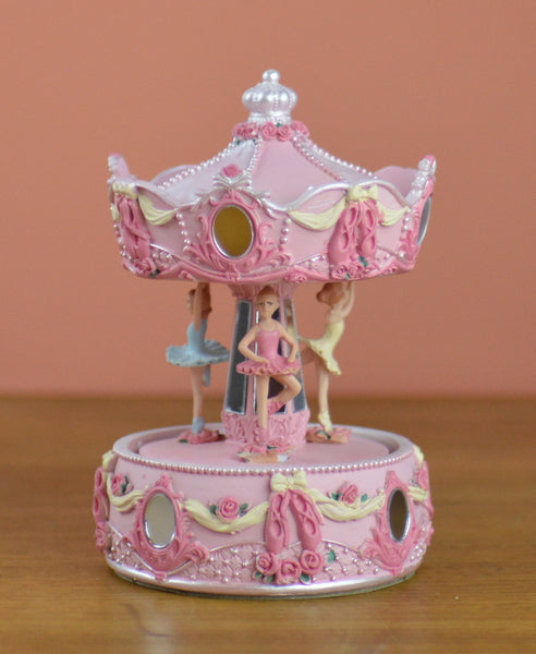 Goodwill Musical Ballerina Carousel Wind Up - Pink 16cm