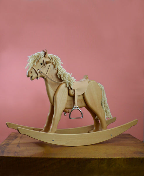 Helga Kreft Jolly Popcorn Rocking Horse with Safety Frame, Bridle, Saddle and Stirrups