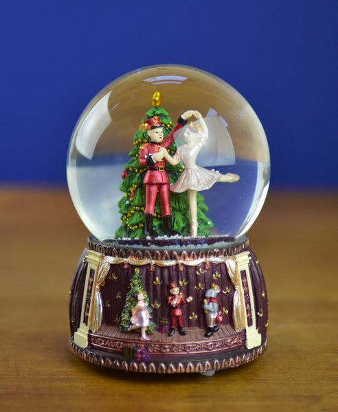 Goodwill Musical Nutcracker Ballet Wind Up Snow Dome with Dancing Ballerina and Soldier - 14cm