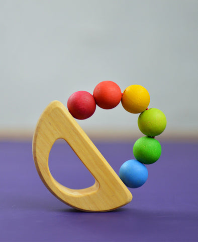Grimm's Spiel and Holz - Rainbow Boat Grasping Toy