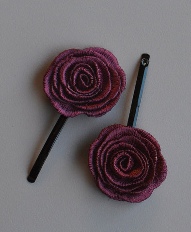 Milk & Soda Flower Hair Pin - Burgundy