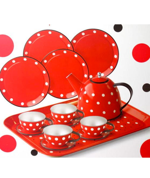 15pc Children's Tin Tea Set: Red Polka Dot