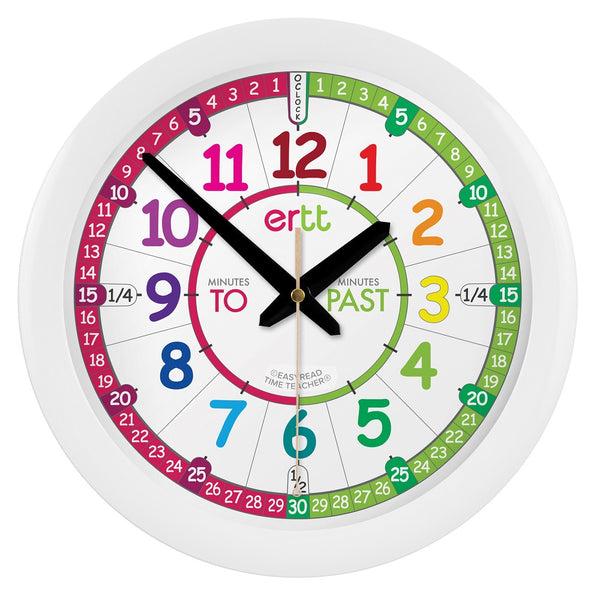 EasyRead Time Teacher Face Clock: Rainbow (Past/To)