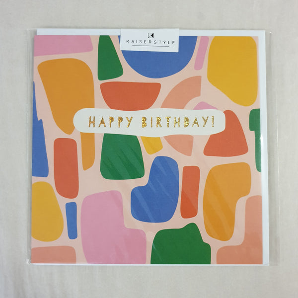 KaiserStyle Sunshine Happy Birthday Gold and Shapes Card