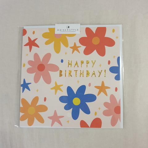 KaiserStyle Sunshine Happy Birthday Flowers and Stars Card