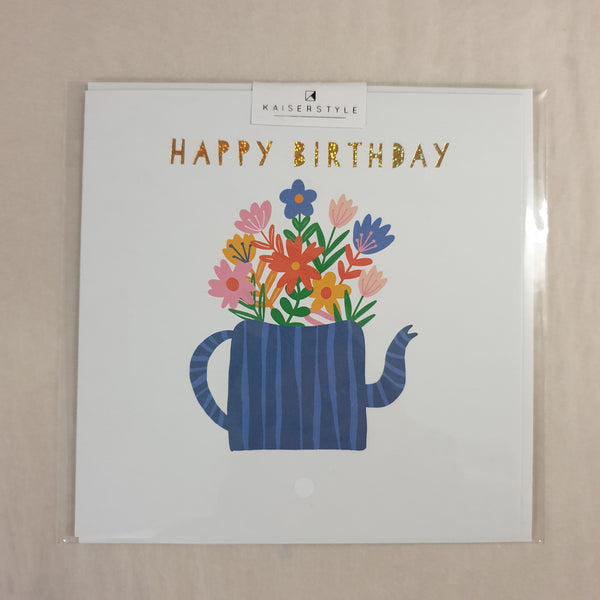 KaiserStyle Sunshine Happy Birthday Teapot Floral Card
