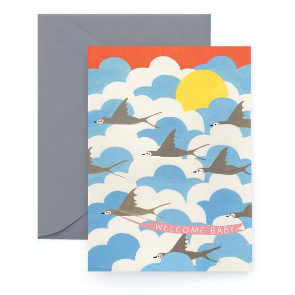 Carolyn Suzuki Flock Welcome Baby Card